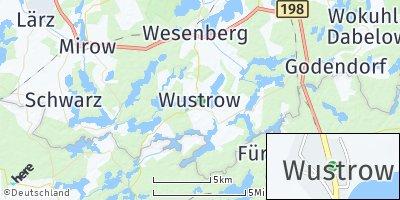 Google Map of Wustrow bei Wesenberg