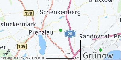 Google Map of Grünow bei Prenzlau