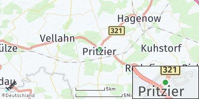Google Map of Pritzier bei Hagenow