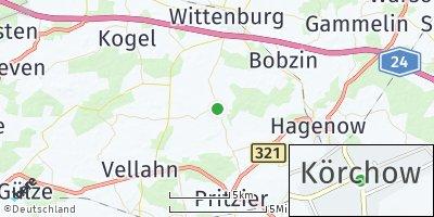 Google Map of Körchow bei Hagenow