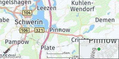 Google Map of Pinnow bei Schwerin