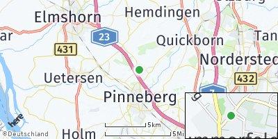 Google Map of Kummerfeld bei Pinneberg