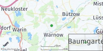 Google Map of Baumgarten bei Bützow
