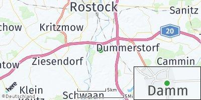 Google Map of Damm bei Rostock