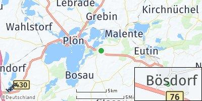 Google Map of Bösdorf bei Plön