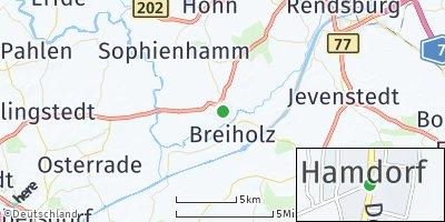 Google Map of Hamdorf bei Rendsburg