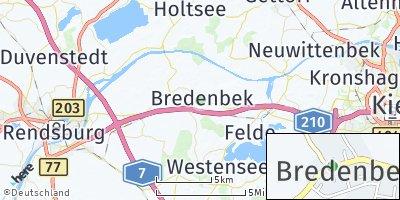 Google Map of Bredenbek bei Rendsburg
