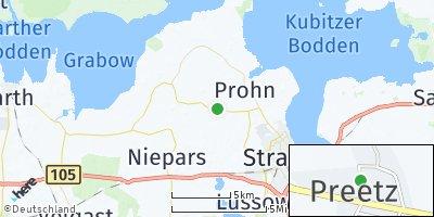 Google Map of Preetz bei Stralsund