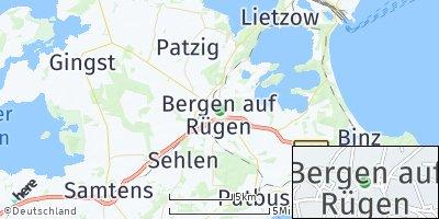 Google Map of Bergen auf Rügen