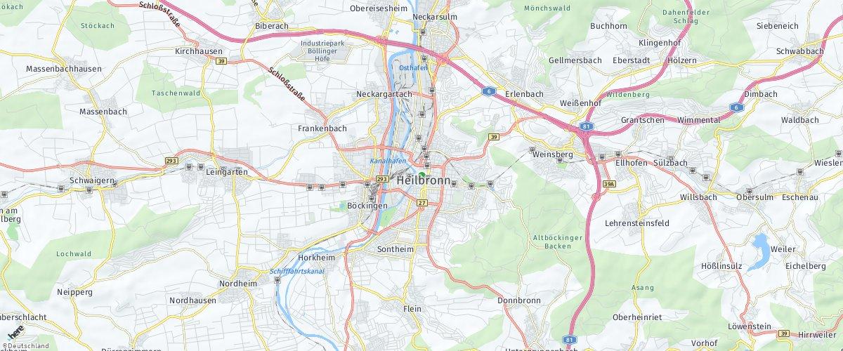 Heilbronn auf HERE Maps